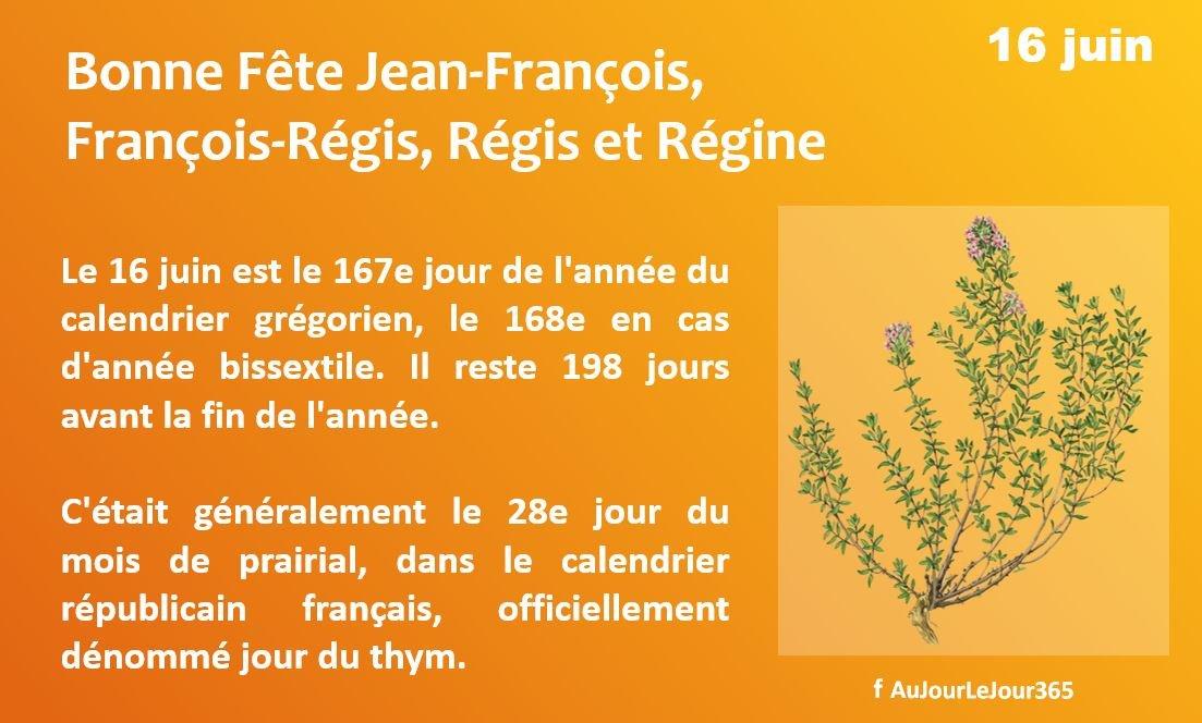 Bonne fête Jean-François - François-Régis - Régis - Régine