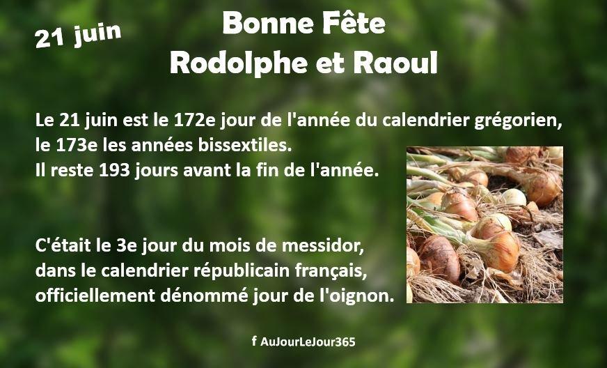 Bonne fête aux Rodolphe et Raoul